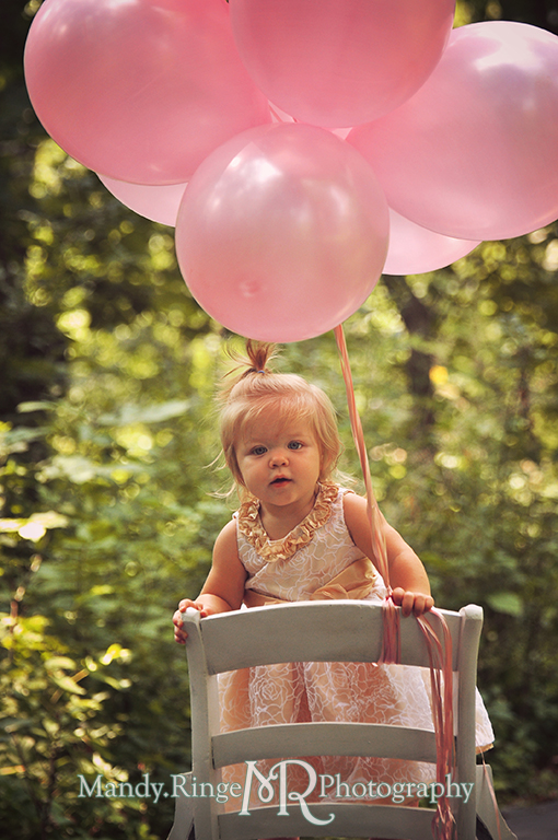 Baby girl's first birthday // White chair, pink balloons, white and gold dress // Delnor Woods - St Charles, IL // by Mandy Ringe Photography
