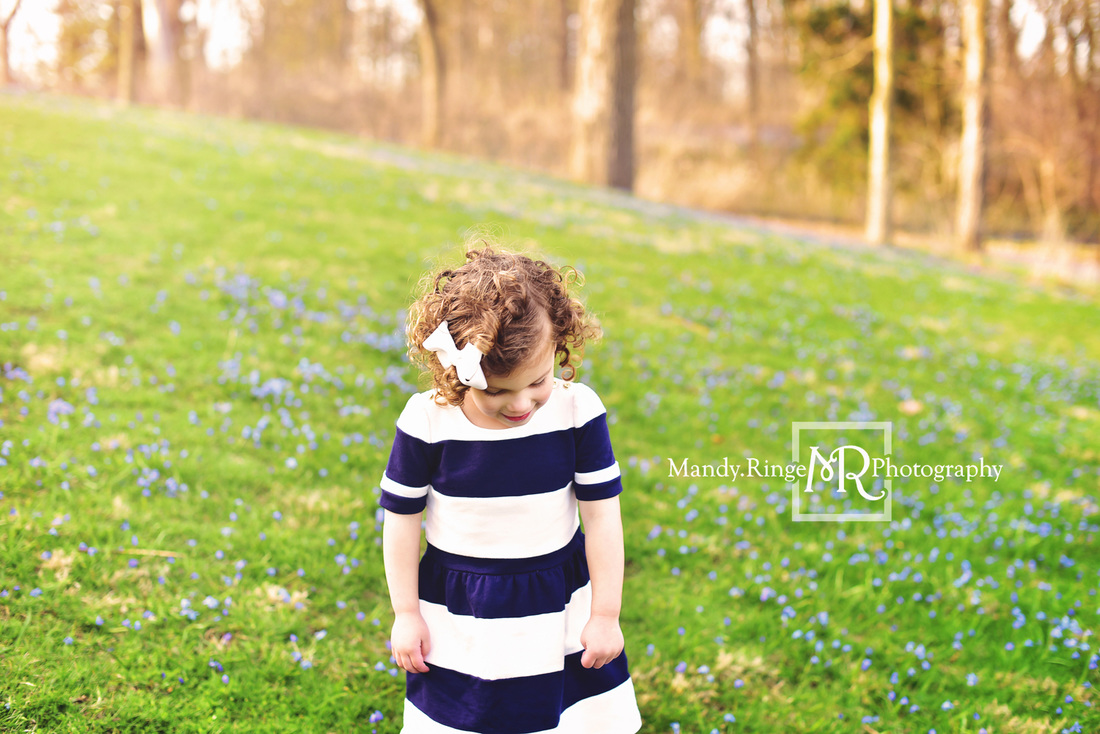 Spring family portraits // Boy and girl siblings, family of four, blue flowers // Fabyan Forest Preserve - Geneva, IL // by Mandy Ringe Photography