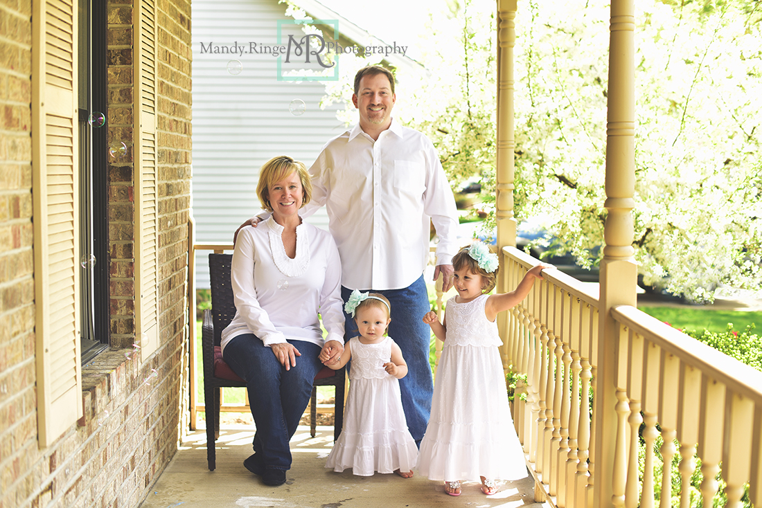 Spring family portraits // Client's home, white and blue outfits // Batavia, IL // Mandy Ringe Photography