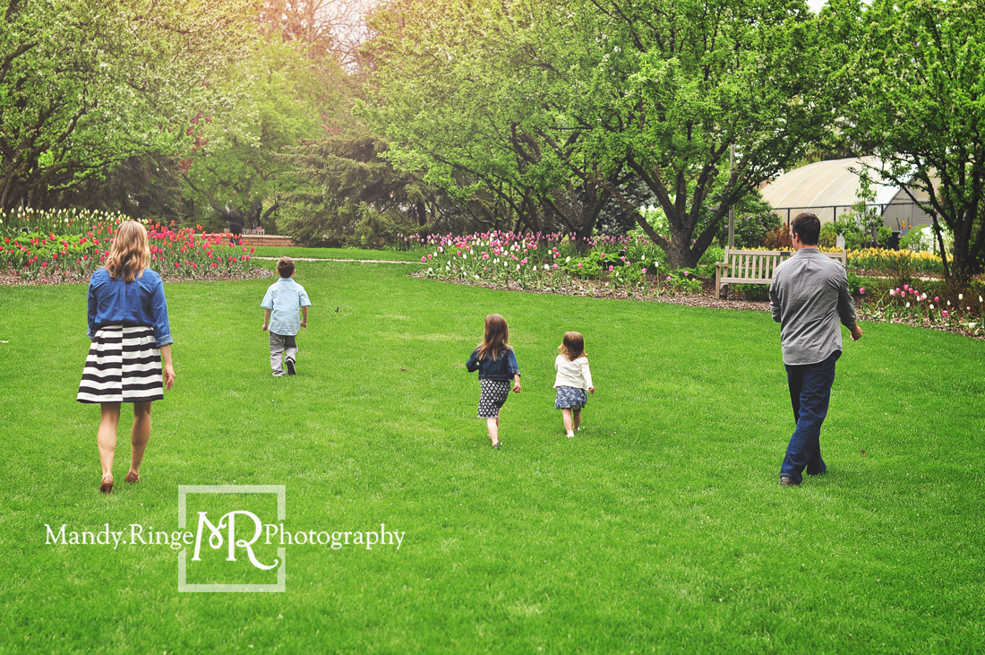 Spring family portraits // blue, gray, black, and white // Lilacia Park - Lombard, IL // Mandy Ringe Photography