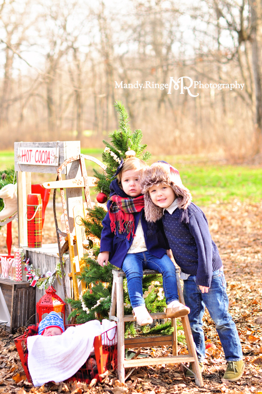 Hot cocoa stand styled mini session // wooden stand, Christmas tree, wreath, forest, woods, chairs, plaid thermos // Northbrook, IL // by Mandy Ringe Photography