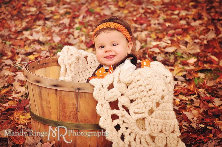 Fall portraits of 9 month old twins // Sitting in a basket among leaves // St. James Farm - Wheaton, IL // by Mandy Ringe Photography