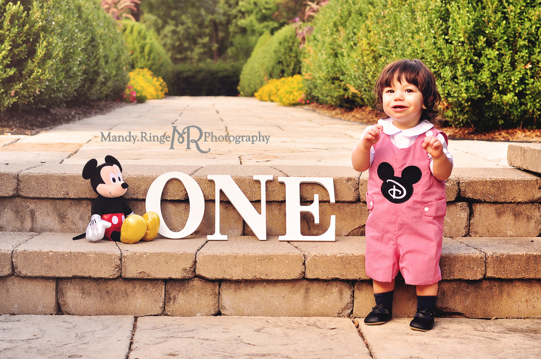 First birthday portraits // boy, Micky Mouse theme, garden, outdoors, 12 months // Hurley Gardens - Wheaton, IL // by Mandy Ringe Photography