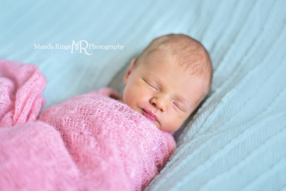 Newborn girl portraits // pink wrap, aqua, teal, mint blanket // client's home - St. Charles // by Mandy Ringe Photography