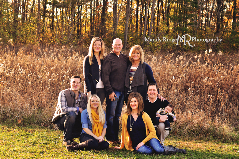 Extended Family Portrait Session // Outdooor fall photos, prairie, woods // Leroy Oakes Forest Preserve - St Charles, IL // by Mandy Ringe Photography