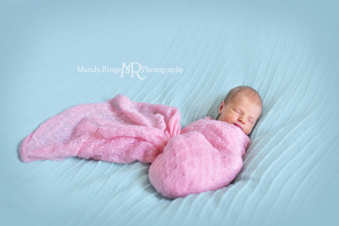 Newborn girl portraits // pink wrap, aqua, teal, mint blanket // client's home - Geneva, IL // by Mandy Ringe Photography