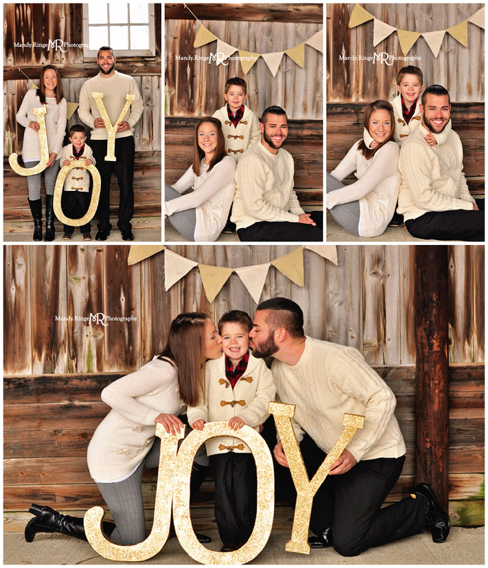 Woodland Winter styled mini session // dark barnwood backdrop, gold glitter JOY letters, gold pennant banner // Peck Farm - Geneva, IL // by Mandy Ringe Photography