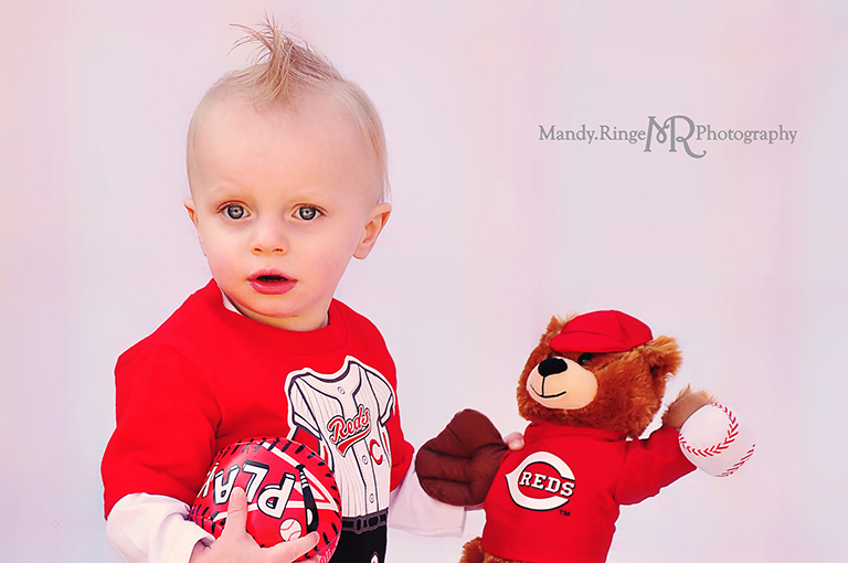 Toddler boy photo shoot // Cincinnati Reds baseball shirt and bear, sports  // Camden, OH // by Mandy Ringe Photography
