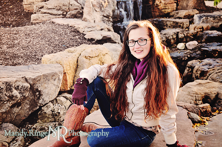 Adult woman portrait, posing in front of a small waterfall // Peck Farm Park // Geneva, IL // by Mandy Ringe Photography