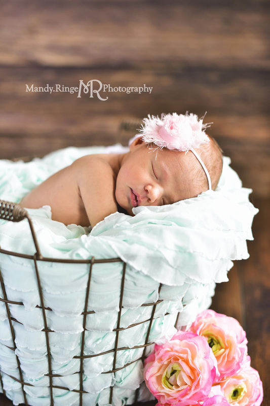 Newborn girl portraits // Dark wood backdrop, floordrop, egg basket, mint green ruffle stuffer, pink flowers // client's home - Geneva, IL // by Mandy Ringe Photography