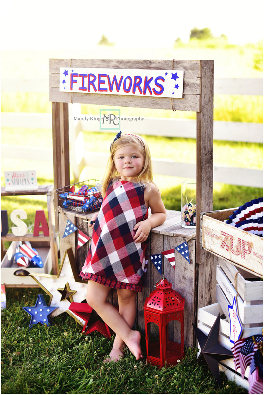 Stars and Stripes mini sessions // patriotic, fireworks stand, flag quilt, Radio Flyer wagon, red, white, and blue // Leroy Oakes - St. Charles, IL // by Mandy Ringe Photography