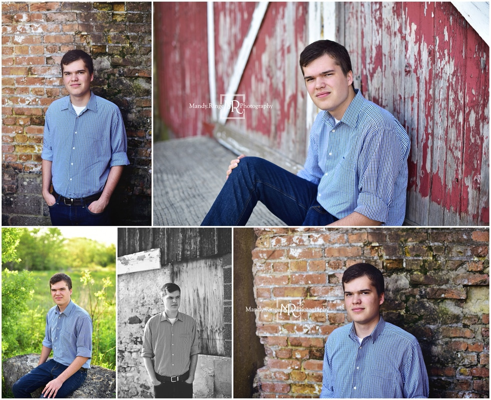 Senior portraits for guys // brick wall, shabby red barn door, large rock // Leroy Oakes - St. Charles, IL // by Mandy Ringe Photography