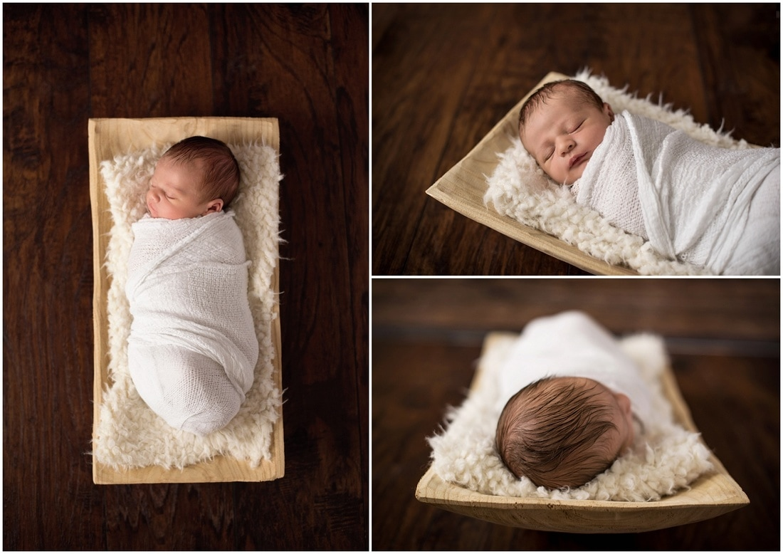 Newborn boy portraits // white wrap, white fur, rectangle wood bowl  // St Charles, IL // by Mandy Ringe Photography