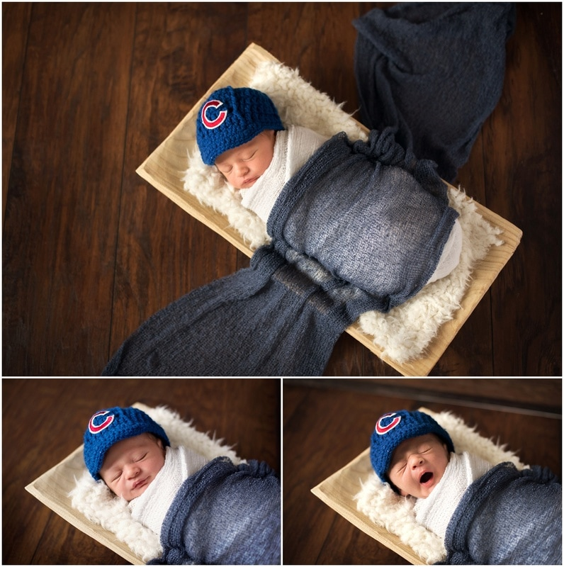 Newborn boy portraits // navy wrap, white fur, rectangle wood bowl, crochet Chicago Cubs hat  // St Charles, IL // by Mandy Ringe Photography