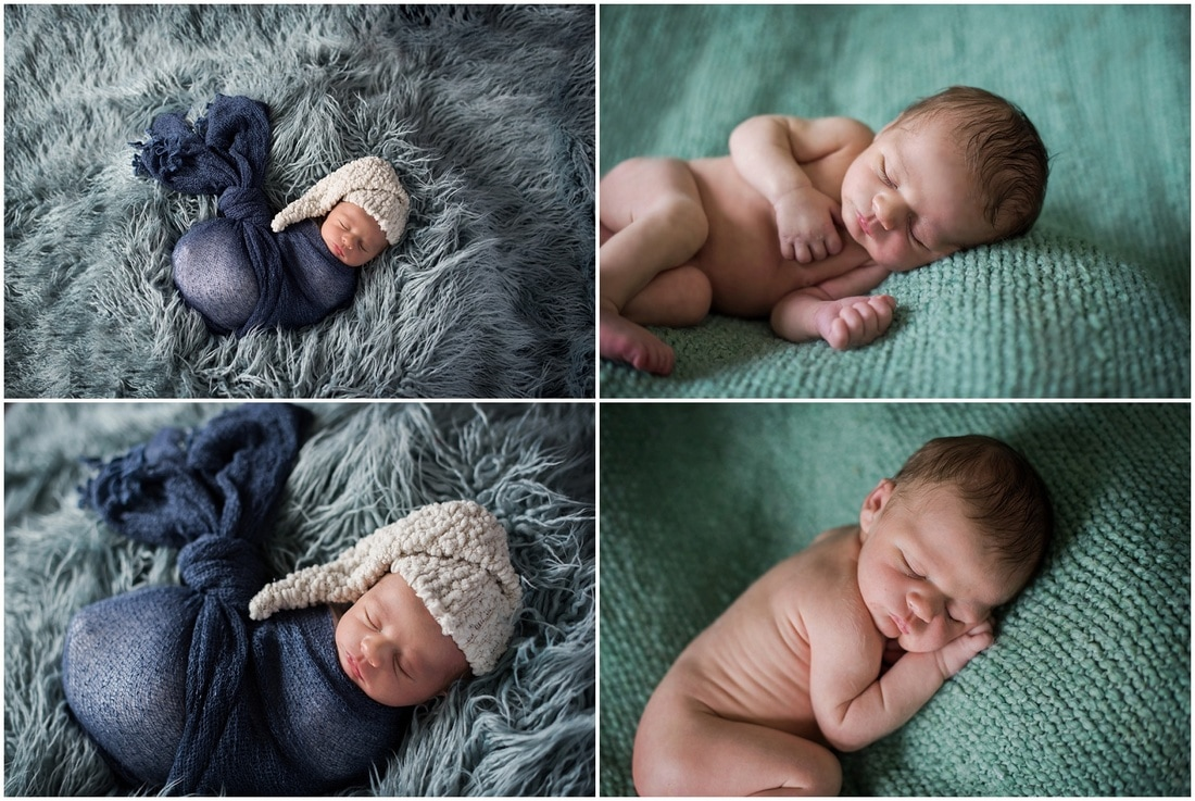 Newborn boy portraits // navy wrap, white nightcap, blue flokati, green posing blanket, nude pose  // St Charles, IL // by Mandy Ringe Photography