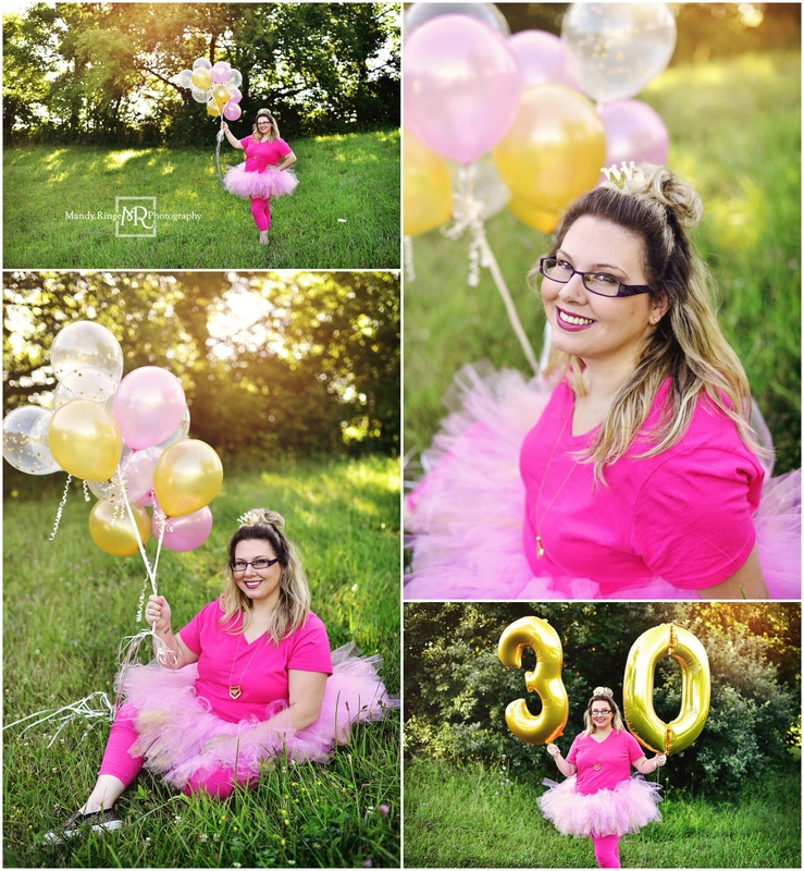 30th Birthday Cake Smash Session Pink And Gold Balloons Wine