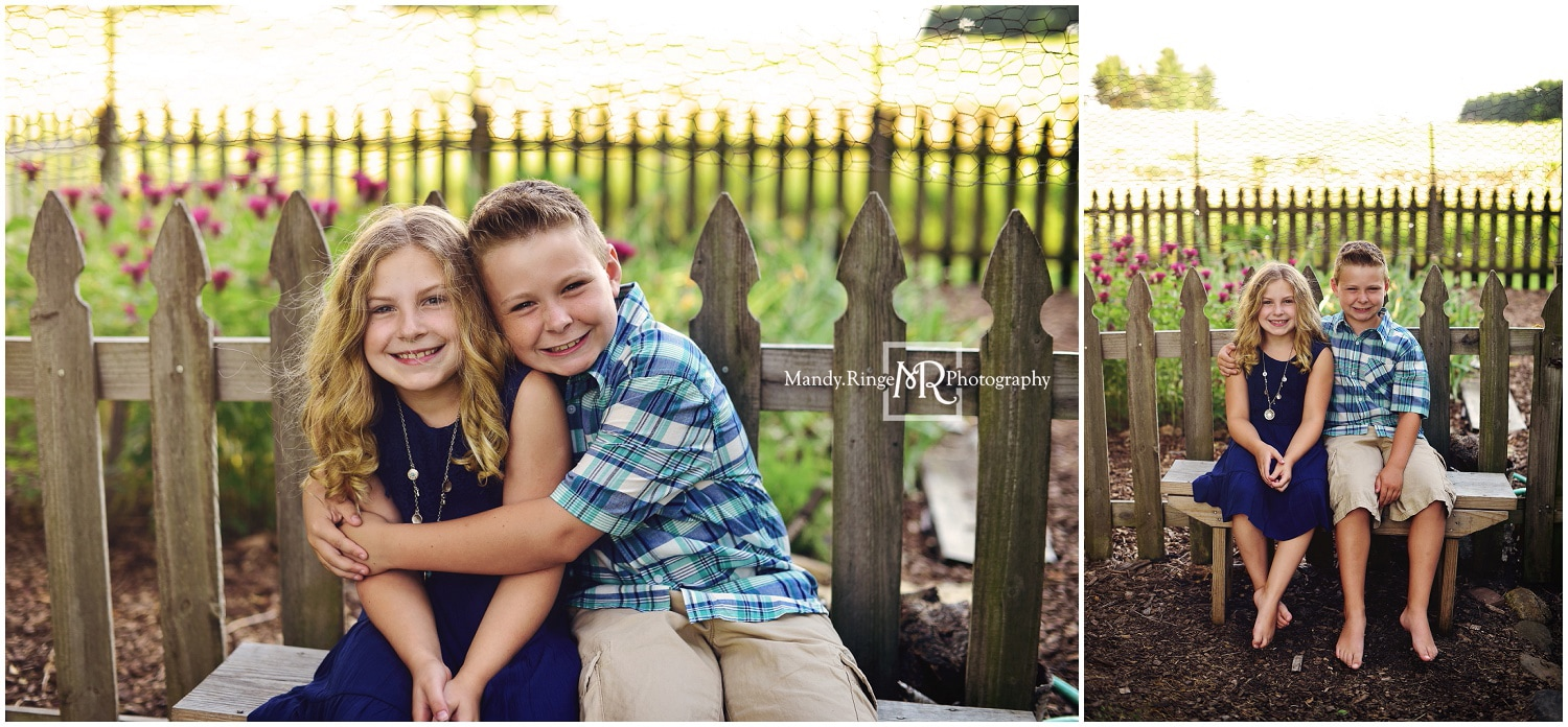 Family portraits // Siblings, outdoors, garden, summer // Leroy Oakes - St. Charles, IL // by Mandy Ringe Photography