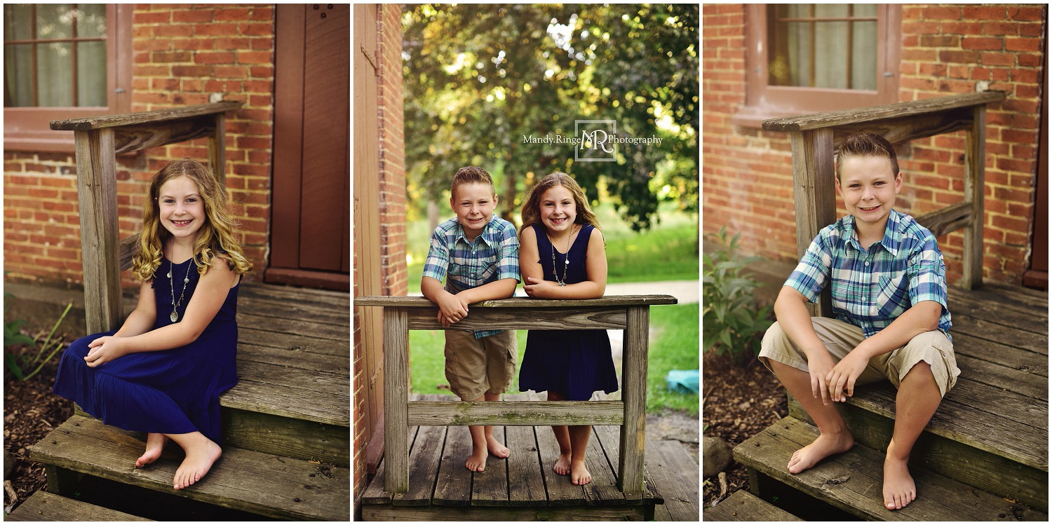 Family portraits // Siblings, outdoors, brick house, summer // Leroy Oakes - St. Charles, IL // by Mandy Ringe Photography
