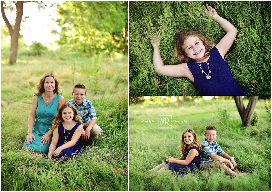 Family portraits // Siblings, outdoors, tall grass, summer // Leroy Oakes - St. Charles, IL // by Mandy Ringe Photography