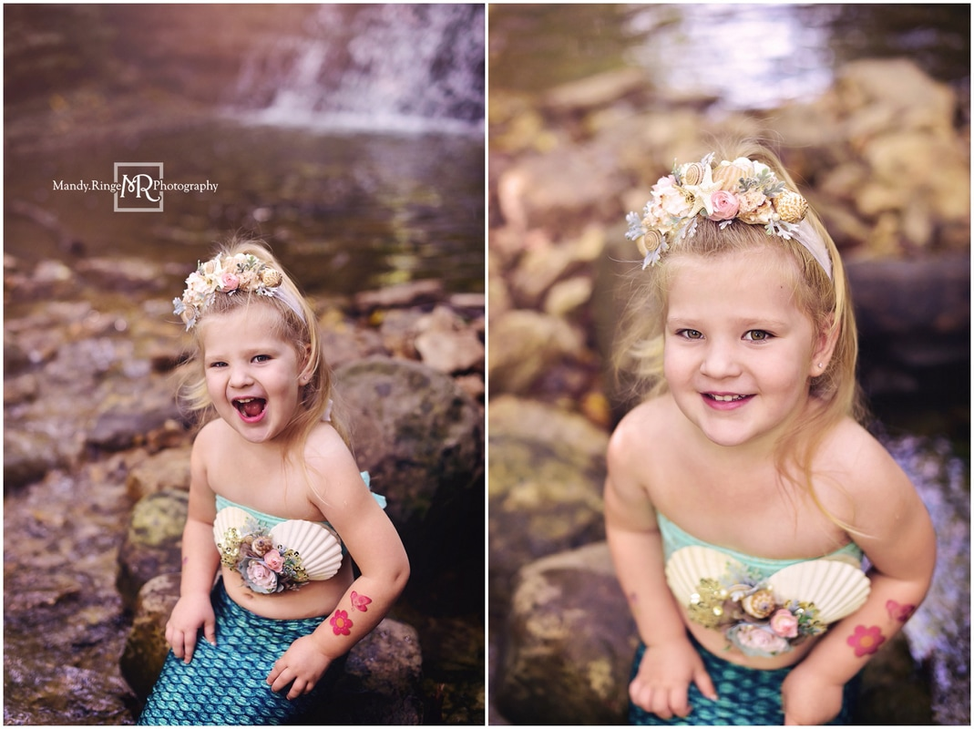 Mermaid mini session // green tail, floral shell top, waterfall, creek, rocks // South Elgin, IL // by Mandy Ringe Photography