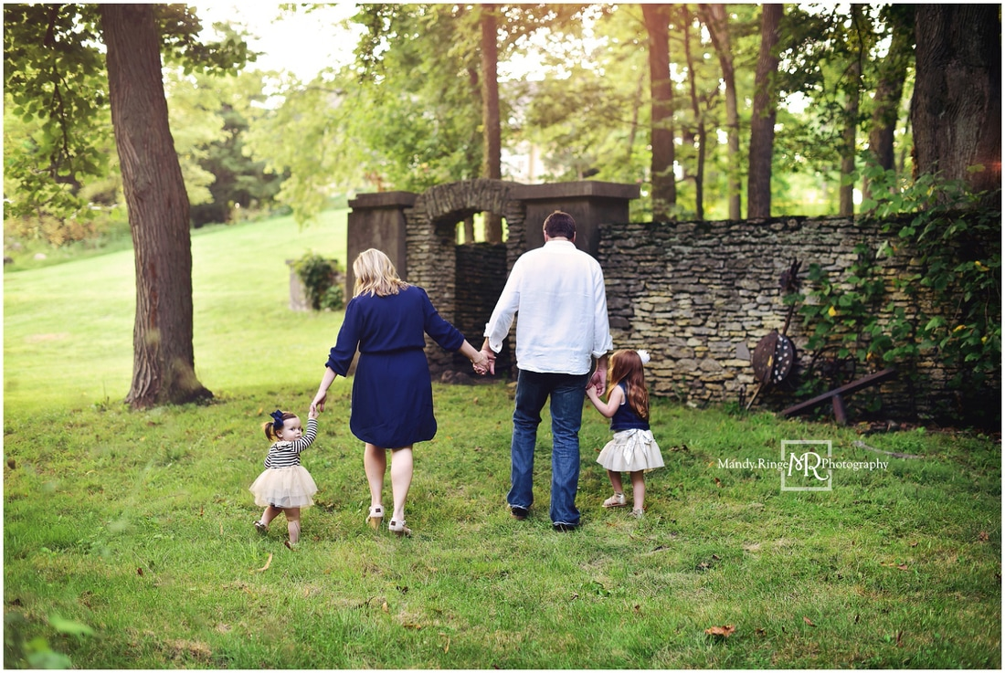 Spring family portraits // sisters, family of five, outdoors, golden hour, navy and gold // Fabyan Forest Preserve - Geneva, IL // by Mandy Ringe Photography