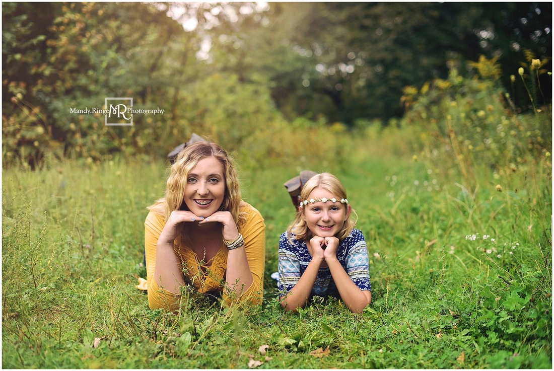 Summer family portraits // outdoors, forest, woods, creek, nature, mustard, navy, gray // Leroy Oakes Forest Preserve - St. Charles, IL // by Mandy Ringe Photography