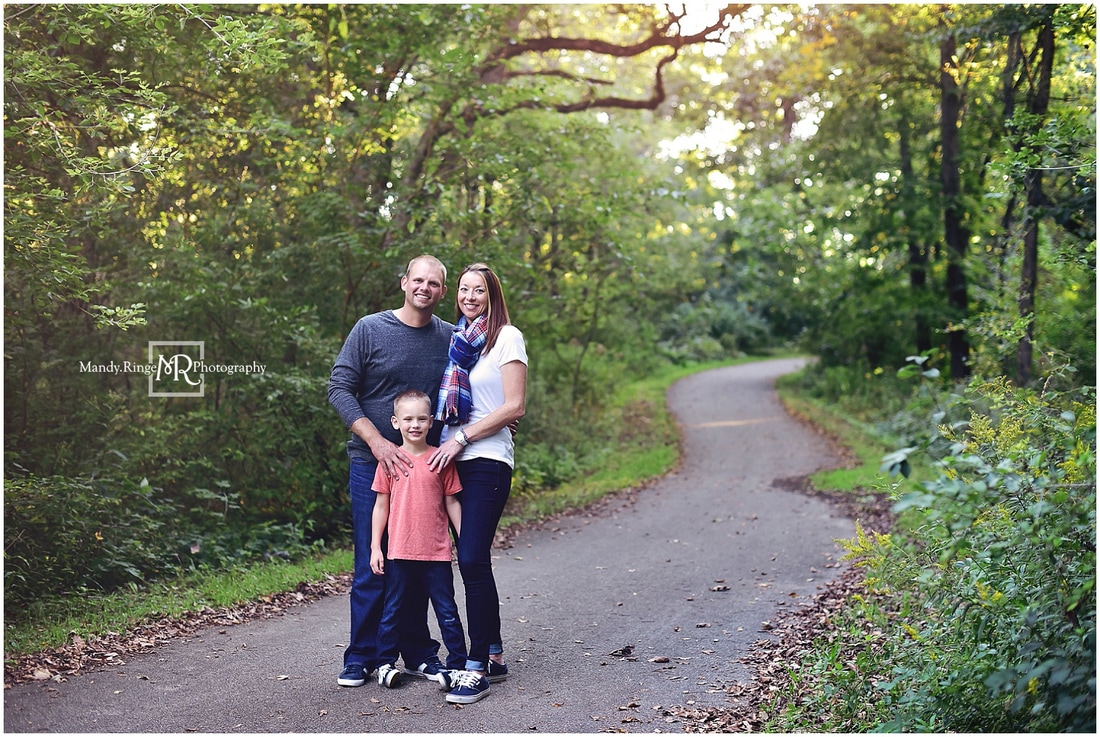 Summer family portraits // boy 6th birthday, outdoors, forest, paved path // Leroy Oakes Forest Preserve - St Charles, IL // by Mandy Ringe Photography