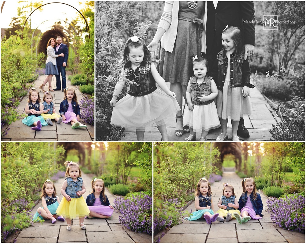 Spring family portraits // Outdoors, garden, family of five, all girl siblings // Fabyan Forest Preserve - Geneva, IL // by Mandy Ringe Photography