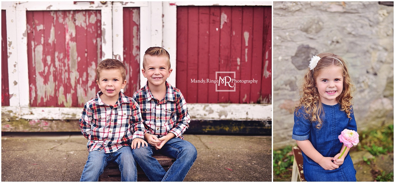 Sibling portraits // rustic, barn, outdoors, plaid, denim, children, kids // Leroy Oakes Forest Preserve - St. Charles, IL // by Mandy Ringe Photography