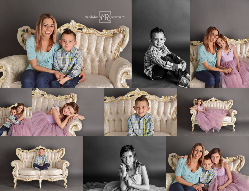 Family portraits // vintage couch, fancy, elegant, victorian // St. Charles, IL studio // by Mandy Ringe Photography