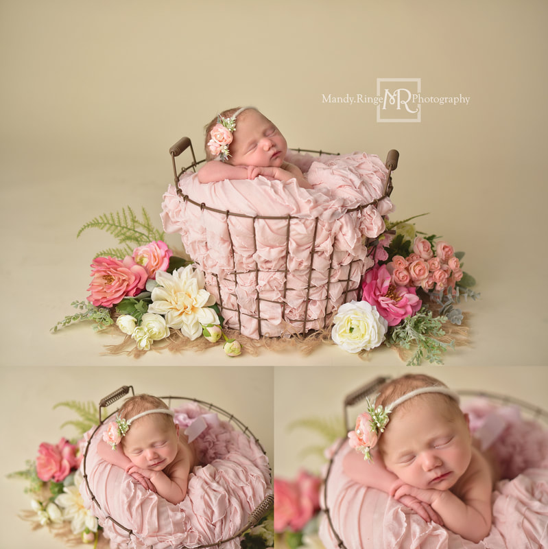 Newborn portraits // Girl, bone seamless, blush pink, egg basket, flowers, burlap, spring // St. Charles, IL studio // by Mandy Ringe Photography