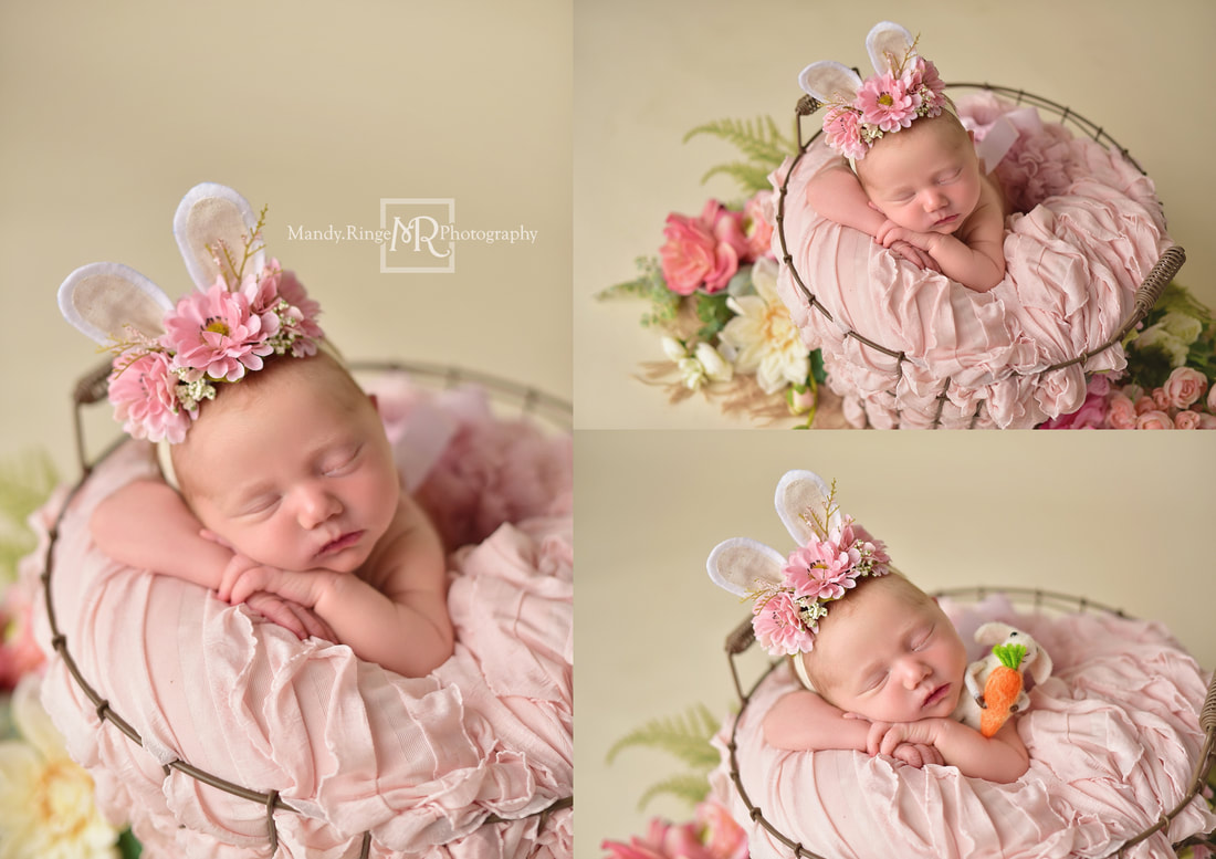 Newborn portraits // Girl, bone seamless, blush pink, egg basket, flowers, burlap, spring, Easter bunny ears // St. Charles, IL studio // by Mandy Ringe Photography