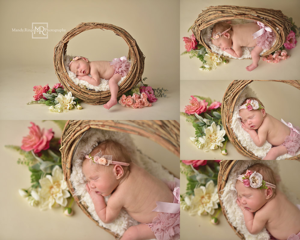 Newborn portraits // Girl, bone seamless, pink, white, willow branch basket, hoop basket, flowers, spring // St. Charles, IL studio // by Mandy Ringe Photography