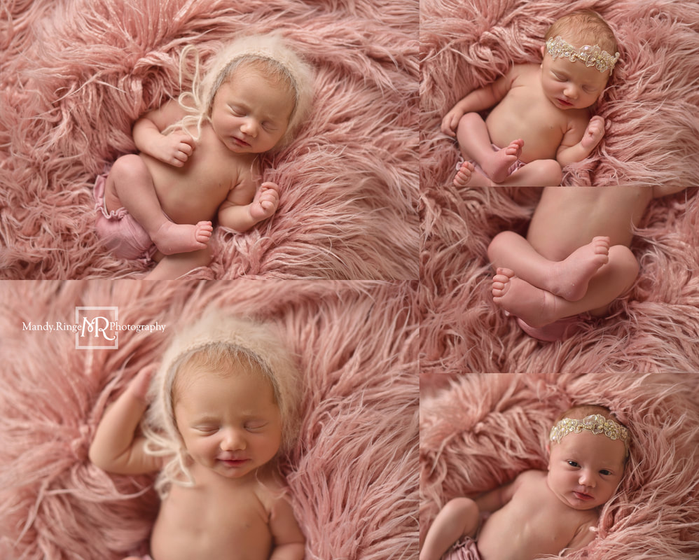 Newborn portraits // Girl, pink fur, faux flokati, angora bonnet // St. Charles, IL studio // by Mandy Ringe Photography