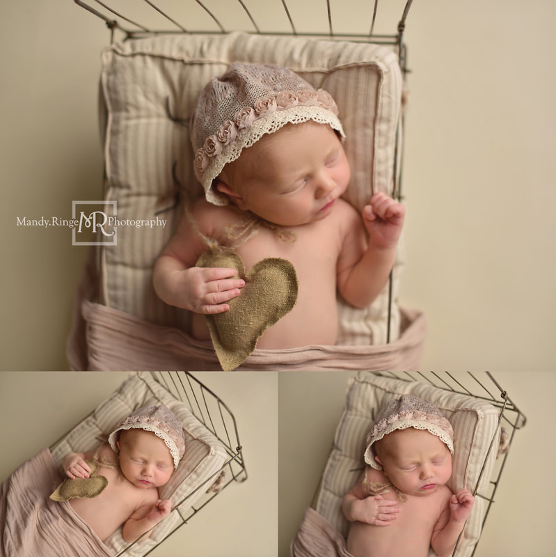 Newborn portraits // Girl, bone seamless, vintage pink, wire bed, burlap heart, flower bonnet // St. Charles, IL studio // by Mandy Ringe Photography