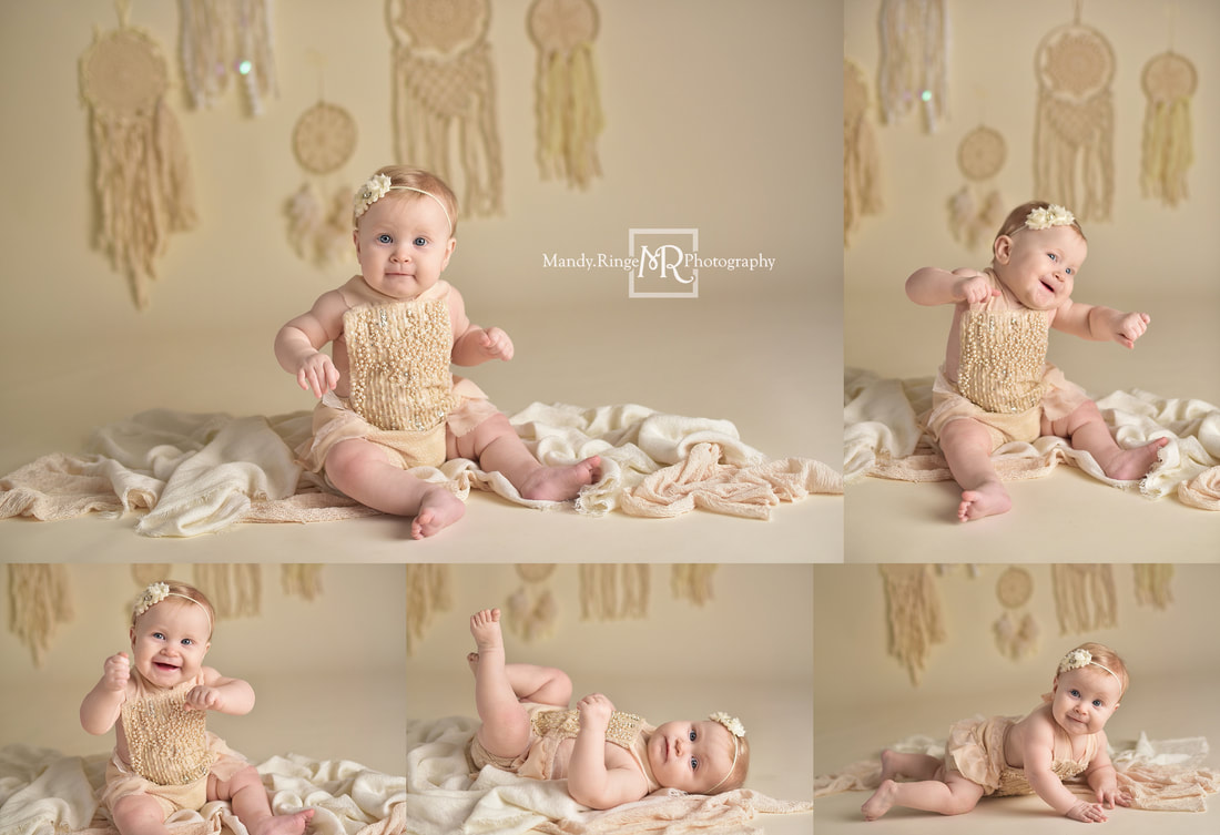 Twin girl sitter session // neutral colors, cream, ivory, bone, boho, elegant, chic, dreamcatchers, simple, identical, milestone, 8 months old // St. Charles, IL studio // by Mandy Ringe Photography