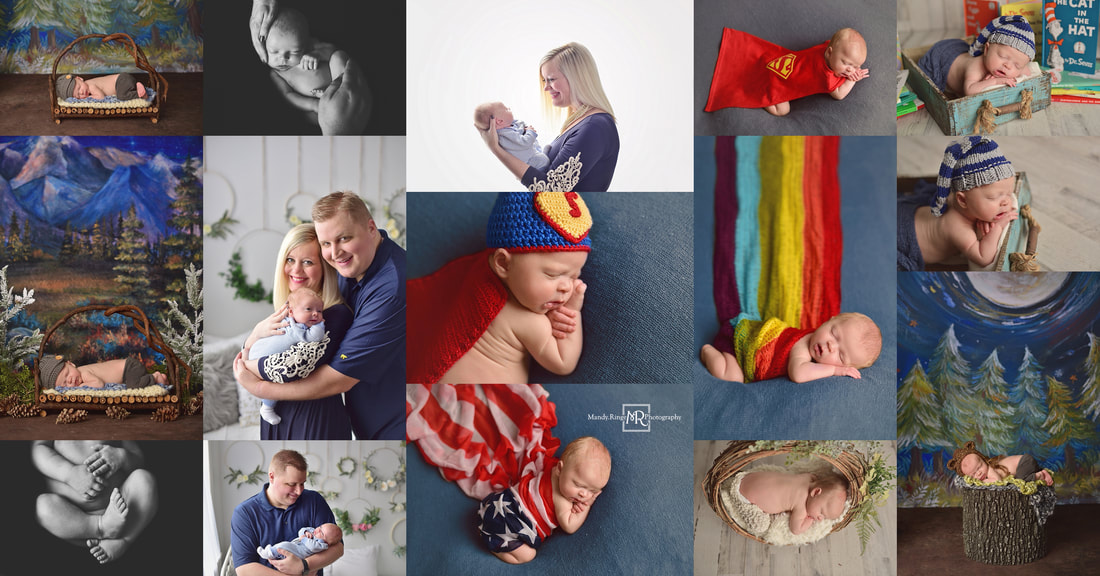 Newborn boy portrait collage // St. Charles, IL studio // by Mandy Ringe Photography