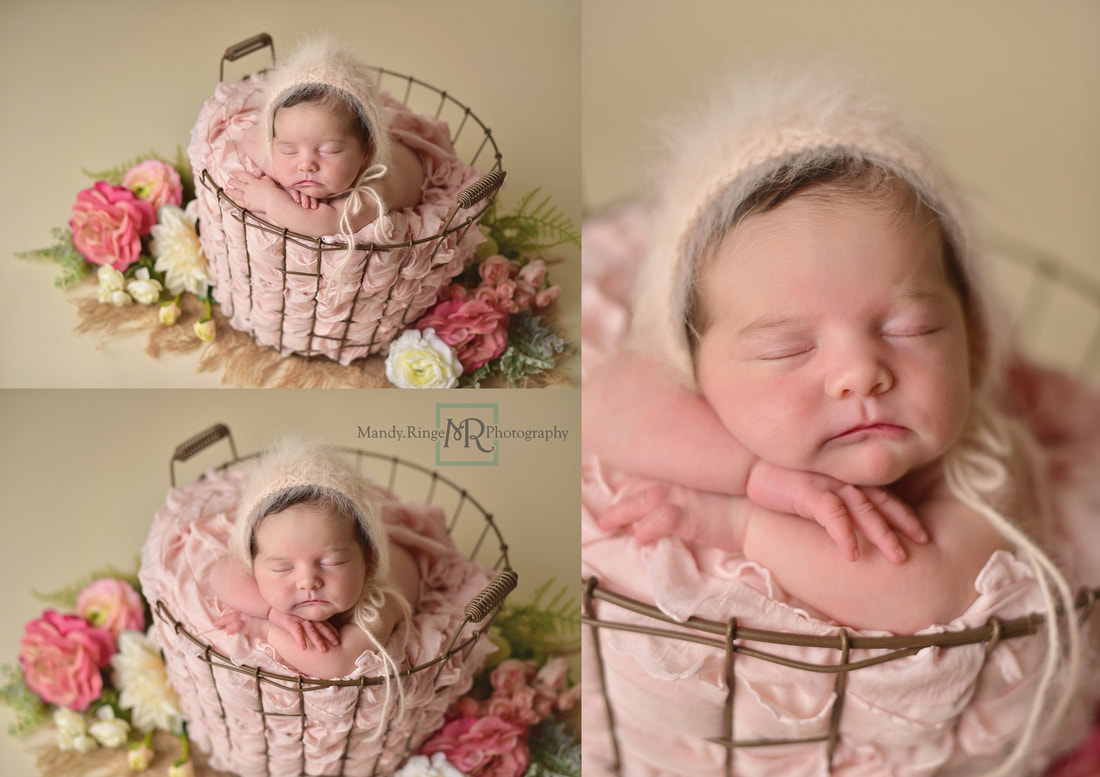 Newborn baby girl // Pink, cream, ivory, blush, floral, flowers, wire basket, burlap, bone seamless // St. Charles, IL studio // by Mandy Ringe Photography