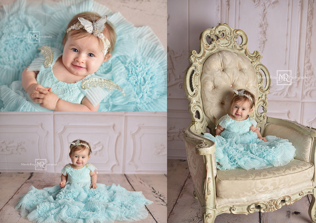 Milestone portraits // 9 month old girl, Lead the Way Frock from Dollcake, blue, teal, butterfly headband, fancy vintage chair, Baby Dream Backdrops // St. Charles, IL studio // Mandy Ringe Photography