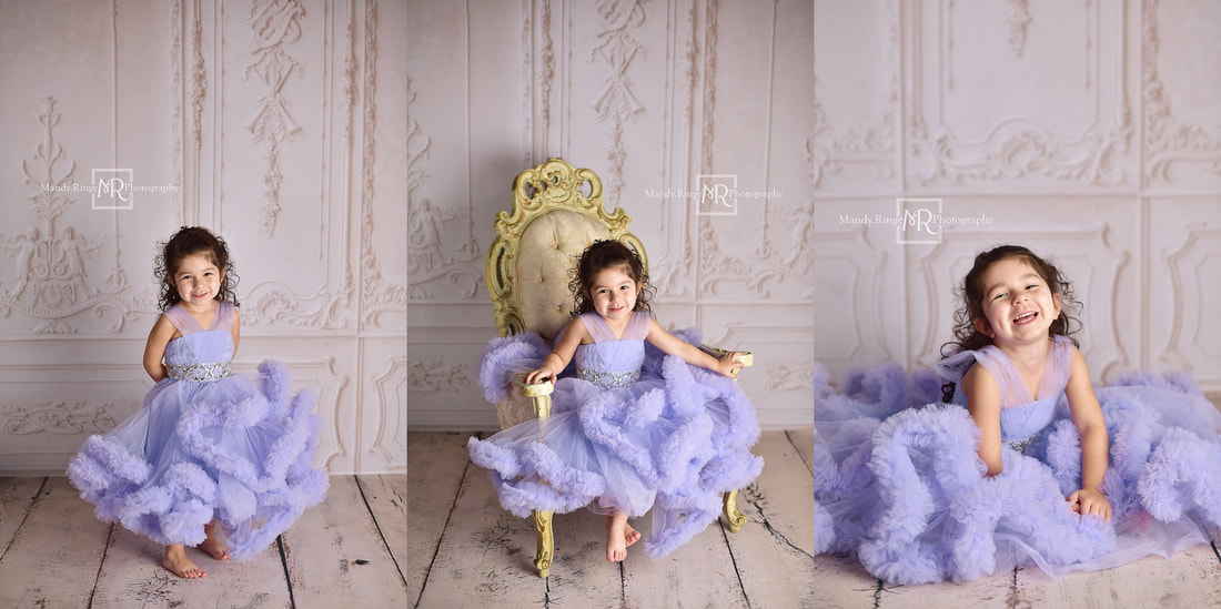 Milestone portraits // 4 year old girl, purple ruffle dress, fancy vintage chair, Baby Dream Backdrops // St. Charles, IL studio // Mandy Ringe Photography