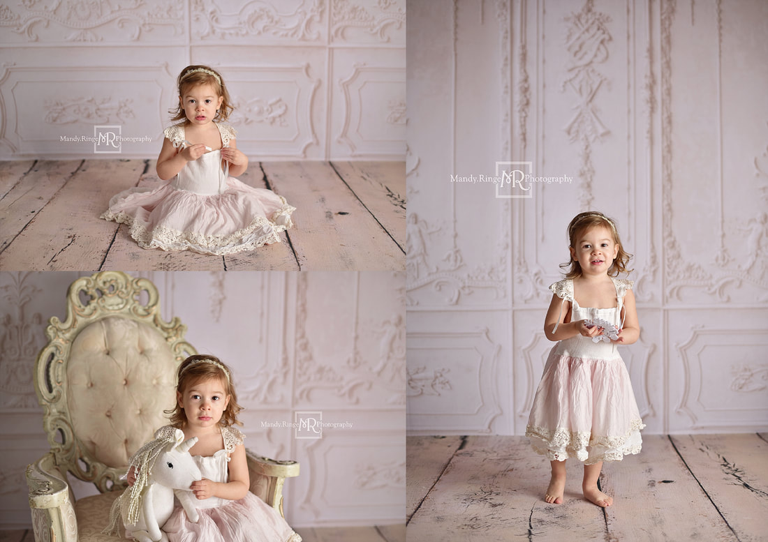 Milestone portraits // 4 year old girl, Moody Blues Frock from Dollcake, blue, teal, fancy vintage chair, Baby Dream Backdrops // St. Charles, IL studio // Mandy Ringe Photography