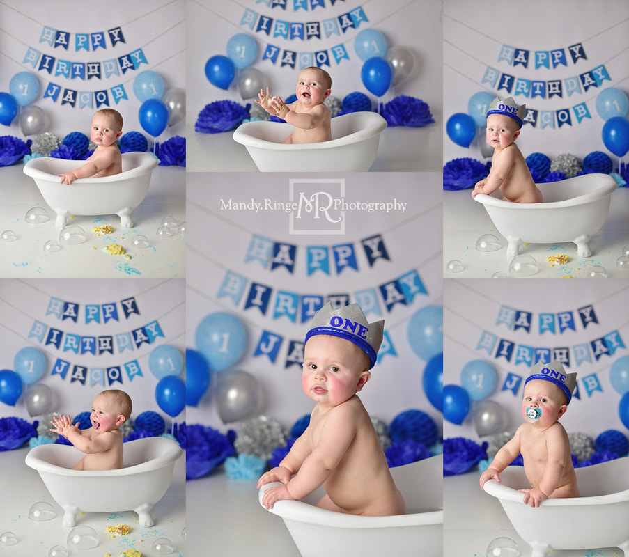 Little boy first birthday session and cake smash // little prince theme, shades of blue, silver, gray, 1 year old, royal // by Mandy Ringe Photography // St. Charles, IL Photographer
