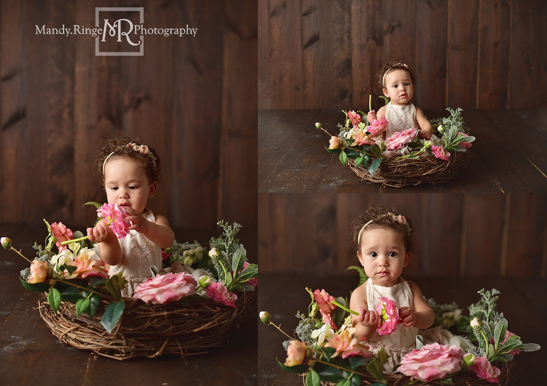 Baby girl first birthday portraits // milestone portraits, floral wreath, pink flowers, dark wood backdrop // by Mandy Ringe Photography // St. Charles, IL Photographer