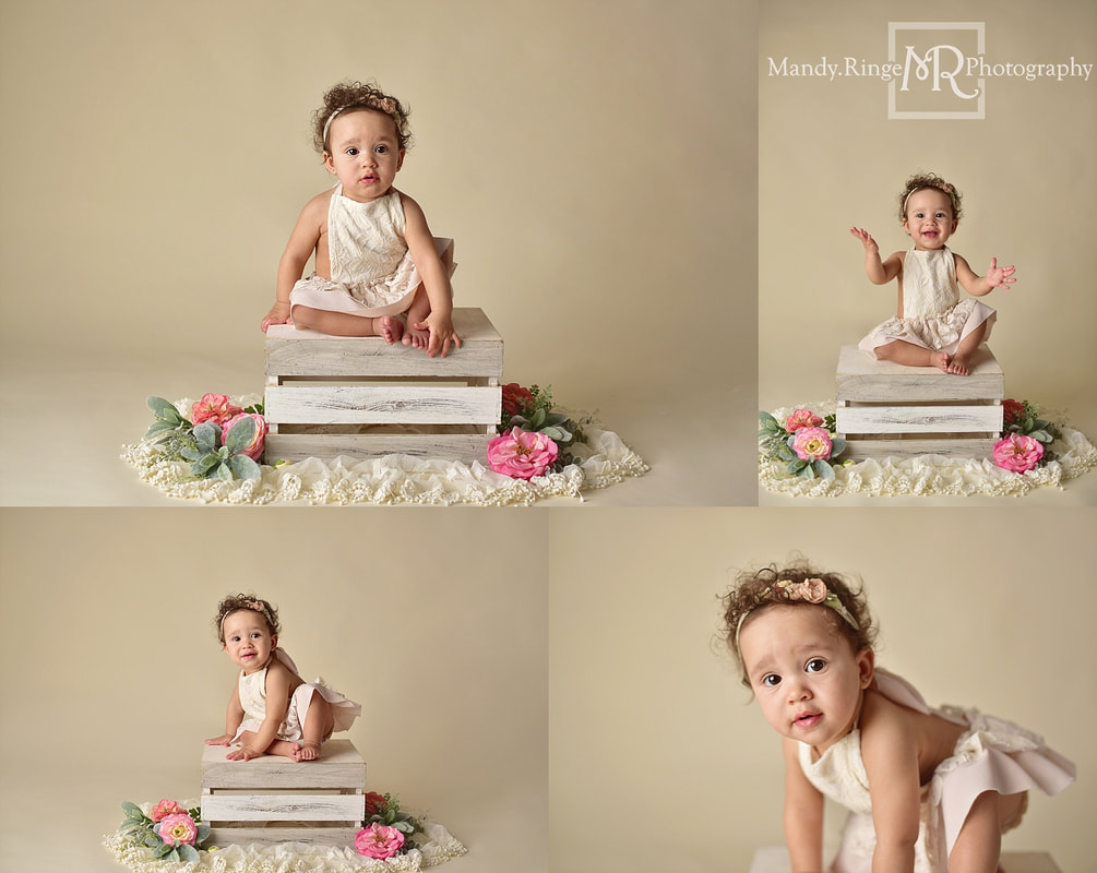 Baby girl first birthday portraits // milestone portraits, crate, floral, flowers, lace, ivory, bone seamless backdrop // by Mandy Ringe Photography // St. Charles, IL Photographer