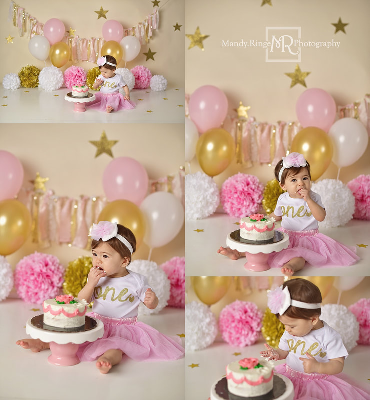 Baby girl first birthday cake smash session // ivory, pink, white, gold, stars, fabric banner, glitter, twinkle // by Mandy Ringe Photography // St. Charles, IL Photographer