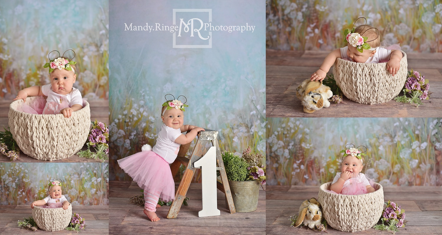 Baby girl first birthday portraits // spring, bunnies, rabbit, one year old, Intuitions Backdrops // by Mandy Ringe Photography // St. Charles, IL Photographer