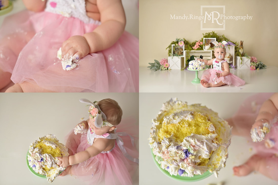 Baby girl first birthday and cake smash portraits // spring, bunnies, rabbit, one year old, flowers, floral // by Mandy Ringe Photography // St. Charles, IL Photographer