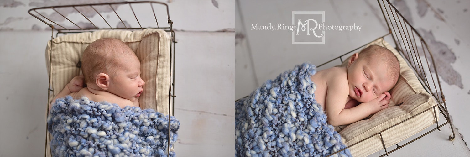 Newborn boy portraits // rustic, gray, blue, white, wire bed // by Mandy Ringe Photography // St. Charles, IL Photographer