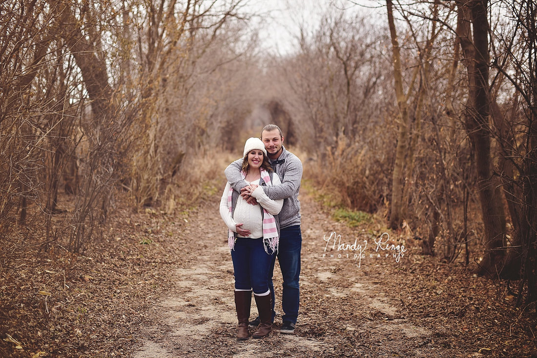 Maternity portrait session // Winter, outdoors, trees, dirt road, cloudy day // St. Charles, IL // by Mandy Ringe Photography