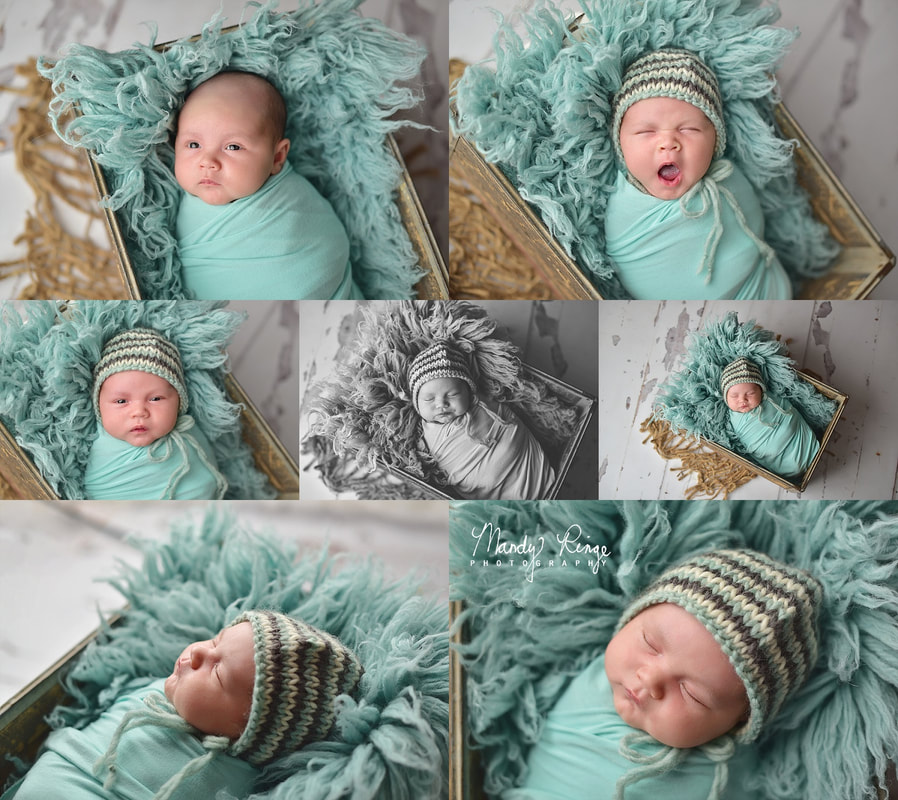Newborn portrait session // Baby boy, vintage crate, aqua, gray, flokati // St. Charles, IL Photographer // by Mandy Ringe Photography